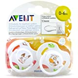 Avent Classic Silicone Soothers 0-6 Months- Rabbit & Cow