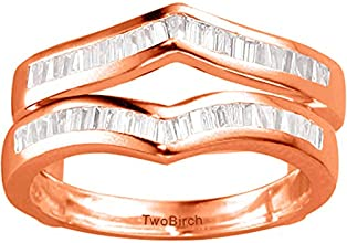18k Gold Classic Chevron Inspired Ring Enhancer with Diamonds 05 ct twt