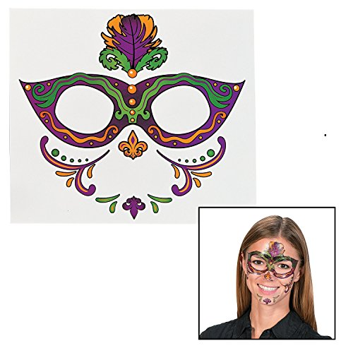 Mardi Gras Full Face Tattoo (12 Pack) Eye Mask Temporary Tattoos - 1