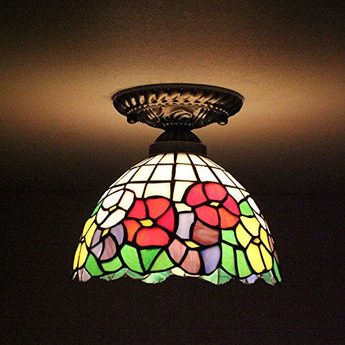 8-inch Vintage Pastoral Stained Glass Tiffany Colourful Flower Ceiling Light Living Room Chandelier Hallway Chandelier