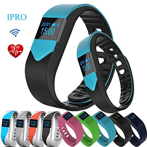 IPRO M3S Wearable Smart Bracelet with Heart Rate Monitor Waterproof Sports Activity Pedometer Sleep Calorie Monitor Exercise Fitness Tracker w/ Self Photo/Anti-lost for IOS&Android System(M3-Blue)