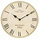 Large Shabby Chic Vintage Style Wall Clock With Roman Numerals In Antique Cream ~ 34cm (Diameter: 34 cm)