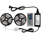 WenTop® Led Strip Lights Kit Non-waterproof SMD 5050 32.8 Ft (10M) 300leds RGB 30leds/m with 44key Ir Controller and Power Supply for Trucks Boats Kicthen Bedroom and Sitting Room