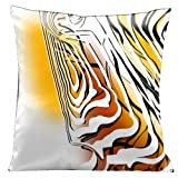 Lama Kasso Contempo Reverse White and Black Graphics on Yellow Orange and White Satin 18-Inch Square Pillow Design on Both Sides