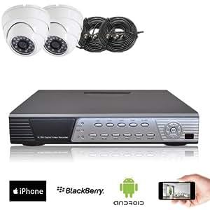 Kit vidéosurveillance 2 caméras dômes CMOS intérieurs & anti-vandale - 600 lignes, 20m