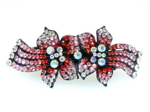ヘアアクセサリー きらきらゴージャス ピンクグラデーションのお花の バレッタ バンスクリップ