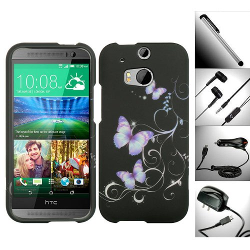 """5 In 1 Superb Value Bundle For Htc One M8 (2014 Edition) - 1 Distinctive Graceful Lavender Butterfly Design Snap-On Hard Case + 1 Random Color Handsfree Headset 3.5Mm Stereo Earphone + 1 Travel / Home Wall Charger + 1 Car Charger + 1 Free Garnet House 4""""L"""