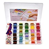 374 PCS - 100 Premium DMC Color Embroidery Floss with Organizer Storage Box Cross Stitch KIT with Tools, Floss BOBBINS, Beads and Ribbons Friendship Bracelet String Embroidery Thread Bracelets Yarn