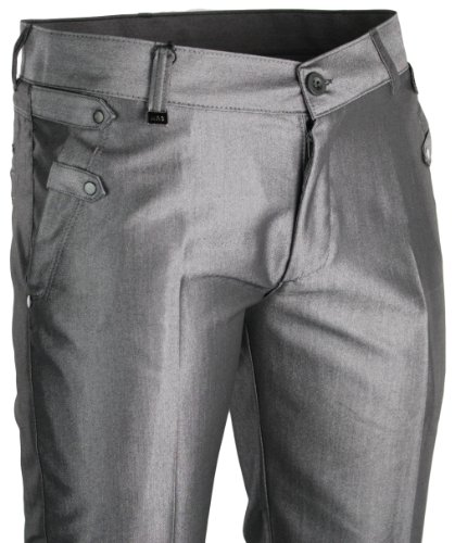 Mens Slim Fit Trousers Silver Grey Stud Design Smart Italian Style Formal or Casual