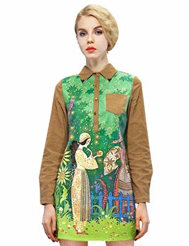 Elf Sack Womens Autumn Dress Long Sleeve Pastoral Printing Corduroy Large Size