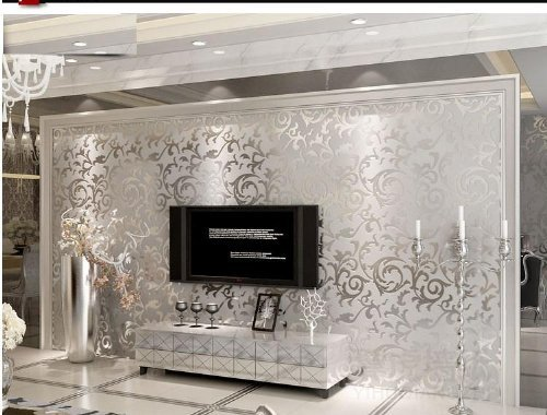 High Quality Sliver Gray Victorian Damask Embossed Textured Wallpaper Non-woven Material QH Wallpaper 0.53m(20.8