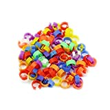 100pcs x 16mm Mix Color Clip On Leg Rings Bird Foot Rings for Chickens, Ducks, Hens, Poultry, Large Fowl,Bird, Chicks