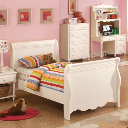 Adriana Ii White Finish Full Size Bed Frame Set front-780394