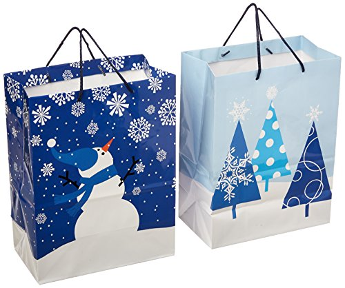 Hallmark Holiday Large Gift Bags (Snowman and Trees, 2 Pack)