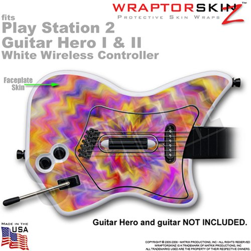 PS2 Guitar Hero I & II White Wireless Controller Skin Tie Dye Pastel by WraptorSkinz TM (GUITAR NOT INCLUDED)