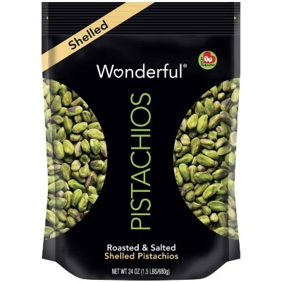 Wonderful SHELLED PISTACHIOS Roasted and Salted Bag NET WT 24 OZ (1.5 Lbs/680 g)