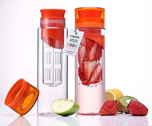 Cupture® Pack Of 2 Fruit Infuser Water Bottle - Made Of Unbreakable Eastman Tritan(Tm) - 24 Oz front-25014