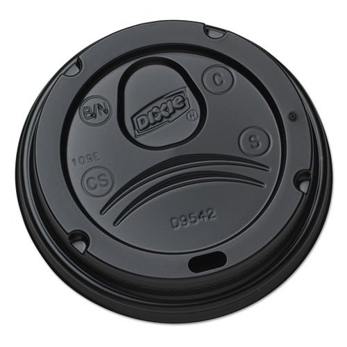 Dixie Drink-Thru Lids for 10-20 oz Cups, Plastic, Black - Includes ten packs of 100 each.