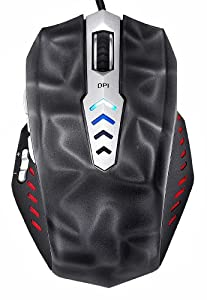 Perixx MX-3000B, Programmable Gaming Laser Mouse - Avago 8200dpi ADNS 9800 Laser Sensor - 3D Black Painting - Omron Micro Switches - 8 Programmable Button - Weight Tuning Cartridge - Ultra Polling 125-1000HZ