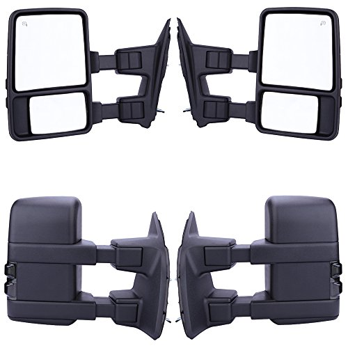 GZYF Pair Power Towring mirrors for * 2008-2015 * Ford F250 F350 F450 F550 Super Duty Heated Function SMOKE Turn Signals Fold Telescoping 08 - 15 (2014 F250 Tow Mirrors compare prices)