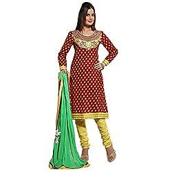 Aagaman Fashion Blended Cotton Semistitched Salwar Suit (TSHCSFLSK9017_Red)