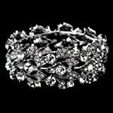 Bridal Jewelry Crystal Rhinestone Floral Leaf Vine Stretch Bracelet Silver Clear