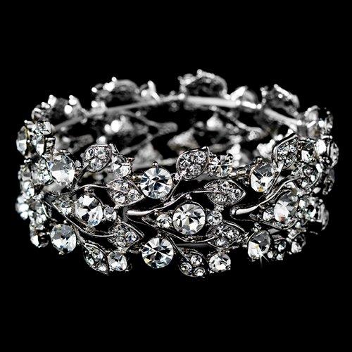 ACCESSORIESFOREVER Bridal Jewelry Crystal Rhinestone Floral Leaf Vine Stretch Bracelet Silver Clear