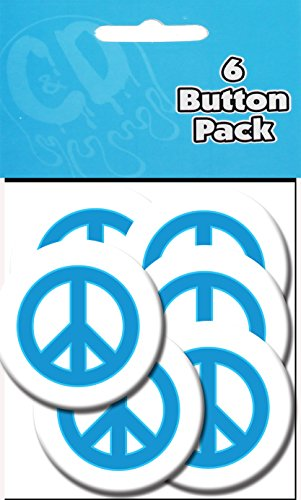 "C&D Visionary Peace Sign 1.25"" Button (6-Piece), Blue"