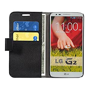 Armor Leather Slim Flip Case With Magnetic Closure Flip Cover for LG G2-Black