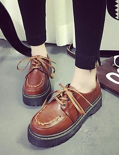 ZY/Hug Scarpe da donna Vintage Preppy Style Dunk Low Chunky Heel Comfort/Round Toe Fashion Sneakers Outdoor/Casual, brown-us8 / eu39 / uk6 / cn39
