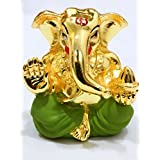 Karigaari India Gold Plated Divine Lord Ganesha Idol - (4.5 Cm X 3 Cm - Gold)/Car Ganesha/Appu Ganesha/Gold Plated Ganesha
