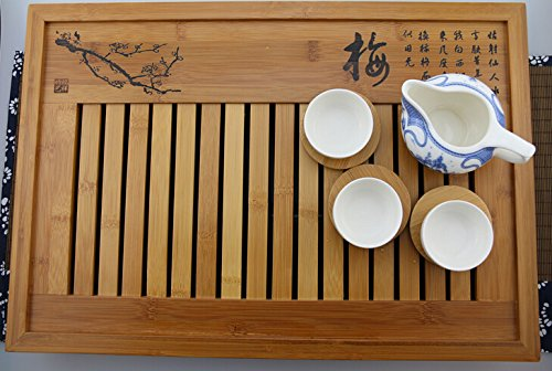 "18.9""X13""X2.36"" Handmade Chinese Gongfu Tea Bamboo Tea Tray-Large Size"
