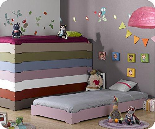 Machambredenfant - Pack Lit Enfant Empilable Lilas Pastel 90x190 cm avec sommier et Matelas