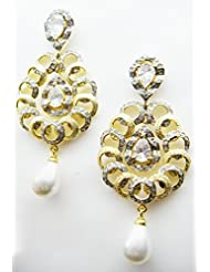 E-designs Rhodium / Gold Plated Earring With CZ Stone Alongwith Colour Stones Studded For Women - B00HSI870W