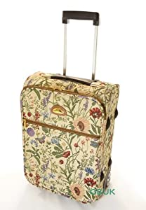 Tapestry Canvas Travel Luggageovernightcabin Flight Suitcase Wheeled With Retractable Handle Wild Flower - Gobelin Style