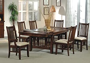 7pc mission style solid hard wood dining room