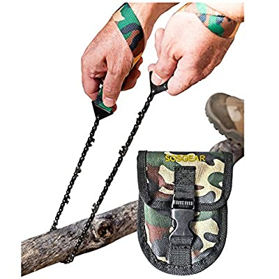"Pocket Chainsaw by SOS Gear, Emergency Survival Gear Hand Saw with Camo Pouch, Snap Closure and Belt Loop for Campers, Hunters, Fisherman and Backpackers, Chain Saw Available in 24"" and 36"""