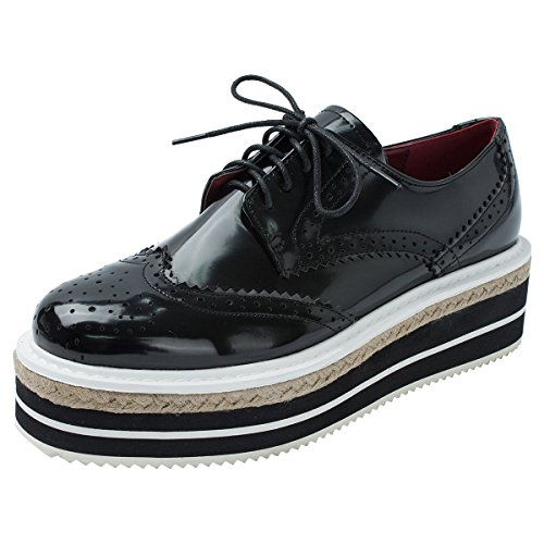 MINIVOG Platform Wingtips Square Toe Women Oxfords Shoe Black 7