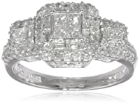 10k White Gold Diamond Engagement Ring (1 cttw, I-J Color, I2-I3 Clarity) by Amazon Curated Collection