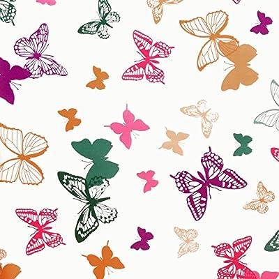 """Wachstuch Tischdecke Wachstischdecke Gartentischdecke, Abwaschbar Meterware, Länge wählbar, """"Butterfly"""" Schmetterlinge Bunt (642-01) von MODERNO bei Gartenmöbel von Du und Dein Garten"""