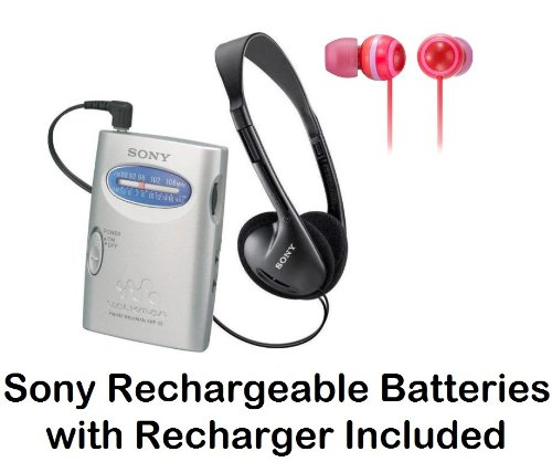 Sony Walkman Portable Lightweight AM/FM Stereo Radio with Belt Clip, Over the Head Stereo Headphones, Spicy Red Fashion Earbud Headphones & Sony Rechargeable Batteries with Recharger