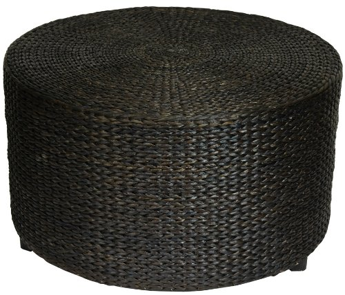 "Rustic Coffee Table Foot Stool - 30"" Woven Water Hyacinth Rattan Style Round Ottoman Coffee Table Platform - Black"