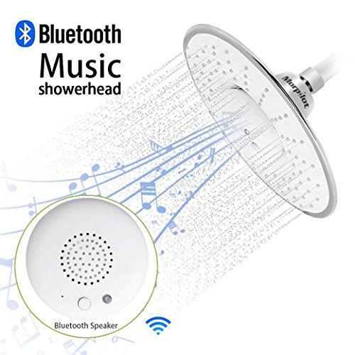 Morpilot® Wide Drenching Round Shape Top Spray Rain Shower Head with Waterproof Music Jet Wireless Bluetooth Speaker Polished Chrome Showerhead Audio Box Built-in Mic with Answer Calls Button