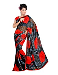 Fabdeal Branded Indian Women Sari Printed Black & Red (HUK10123AAL)