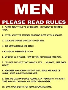 S2219 Men Please Read Rules Funny Metal Advertising Wall Sign Retro Art from SIGNS 2 ALL LTD