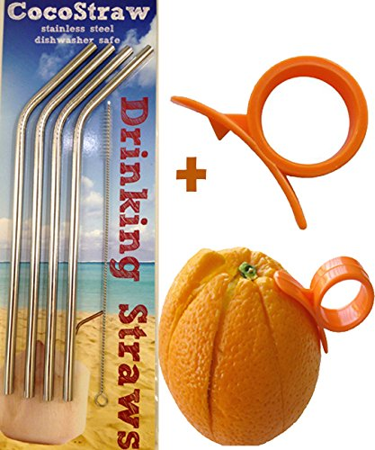 4 Stainless Steel Straws + FREE Cleaning Brush & Citrus Peeler -- FUN! Handy, Elegant, Metal, Washable, SAFE, NON-TOXIC non-plastic or glass - UNbreakable! CocoStraw Brand Drinking Drink Straw