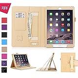 Fyy iPad Air 2( iPad 6)専用PUレザーケース スリム カード収納/ペンホルダ/オートスリープ/スタンド機能付き マグネット開閉式 カーキ 【全9色】