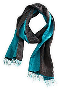 Asian Eye Bravo Silk Hand Stitched Fair Trade Scarf (Teal/Chocolate)