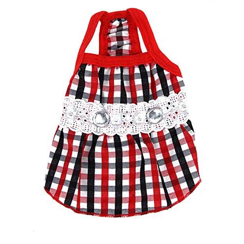 Silvercell Haustier-Welpen-Sommer-Kleidung Lace Plaid R?cke Hemden rot + schwarz S