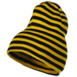 Trendy Striped Beanie - Yellow Black
